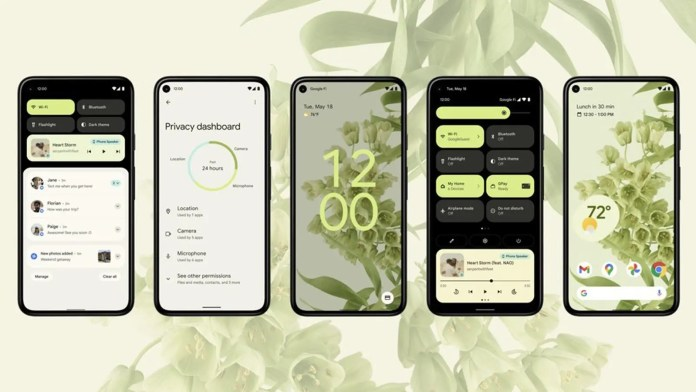 A series of Android 12 phones with a green bubbly theme.