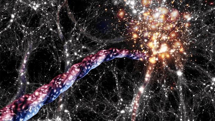 An artist's impression of a spinning cosmic filament