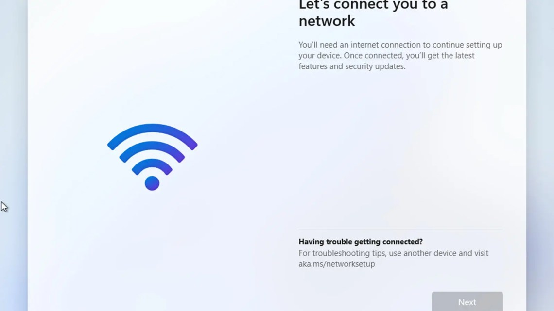 Windows 11 page to connect to the internet.