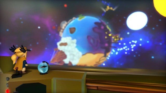 Hat Kid looking out into space in 'A Hat in Time'