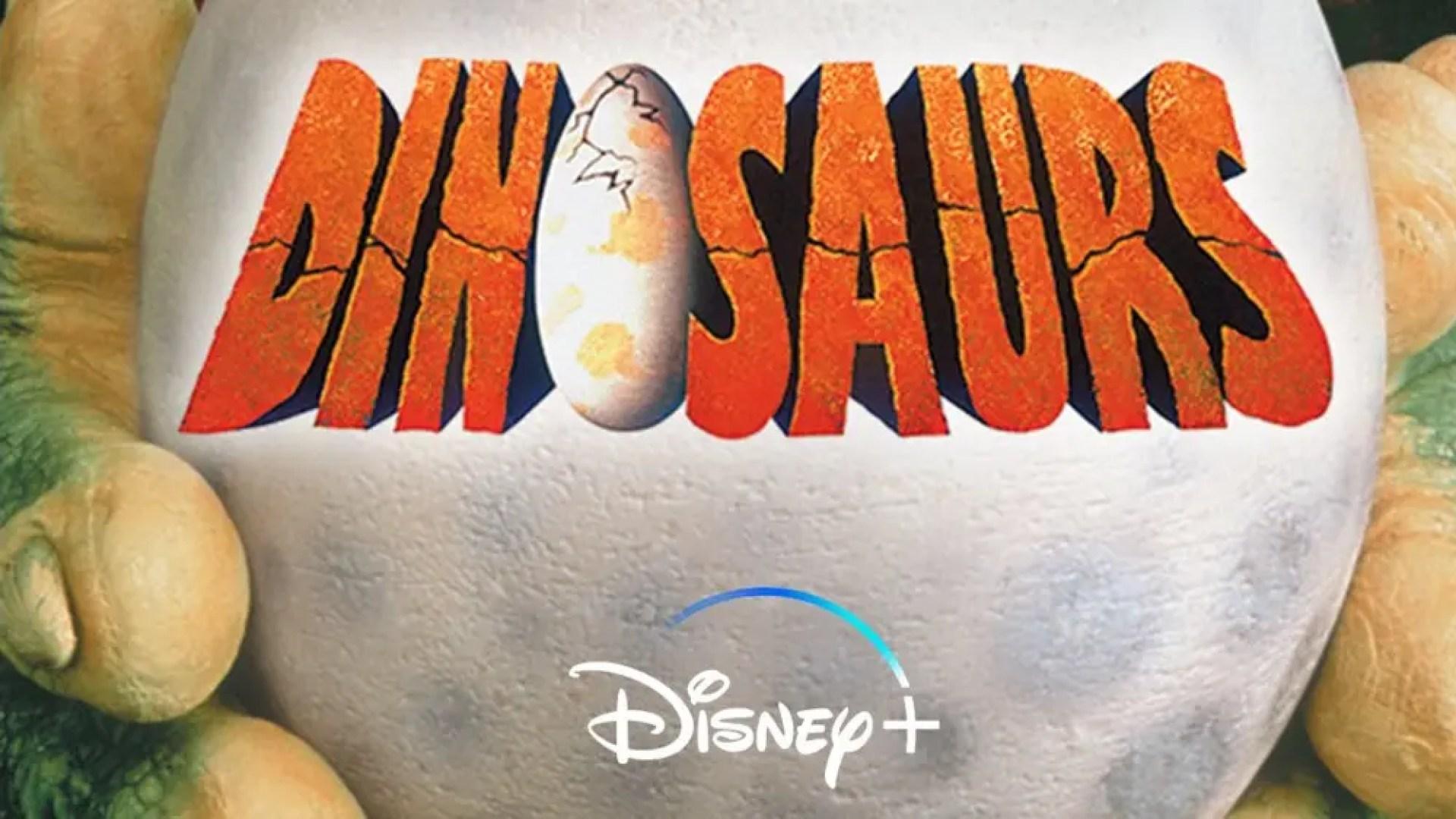 Dinosaurs TV show logo above Disney+ logo on Dinosaurs poster