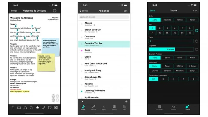 OnSong app for guitar chords and lyrics