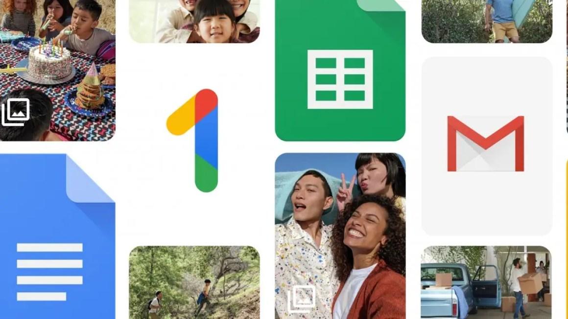 Логотип Google One, окруженный изображениями и логотипами Google Docs.