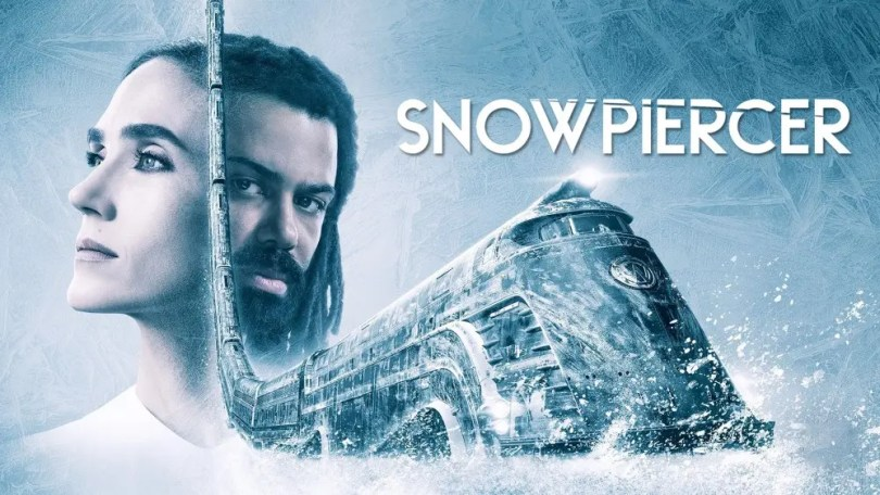 A Snowpiercer promotional image with Jennifer Connelly and Daveed Diggs