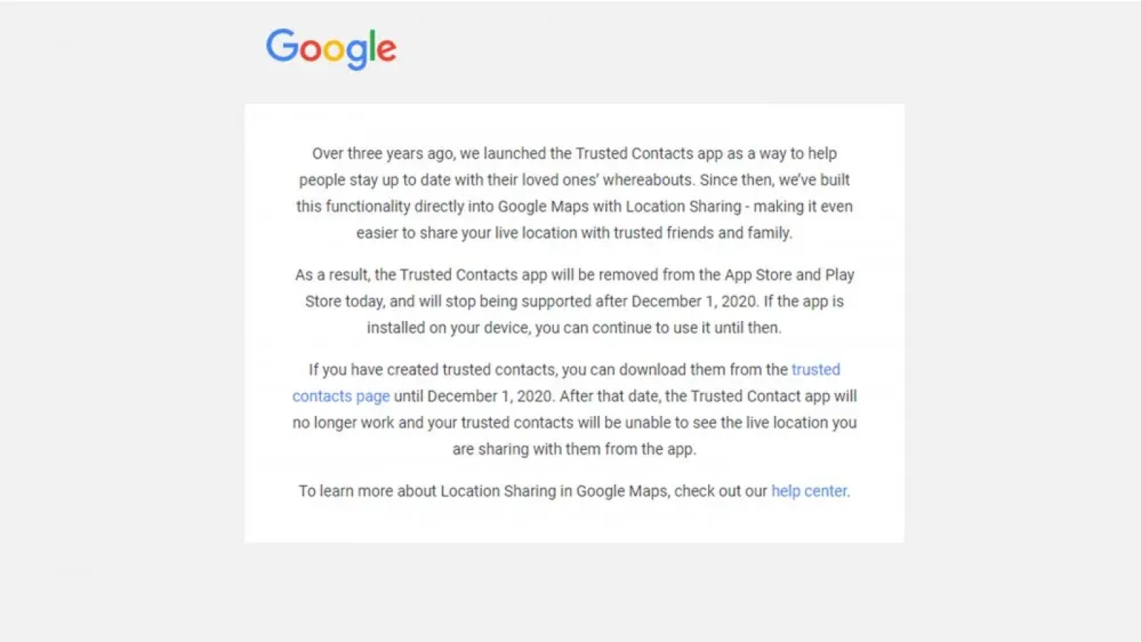 Email text from Google about removing the Google Trusted Contacts app