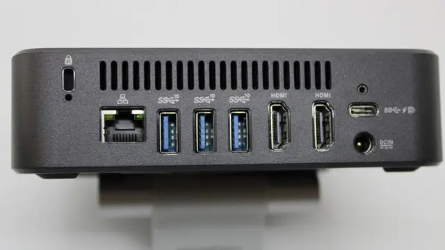 Image of Chromebox 4's rear panel showing USB-A and USB-C ports, Ethernet port, and Kensington lock port