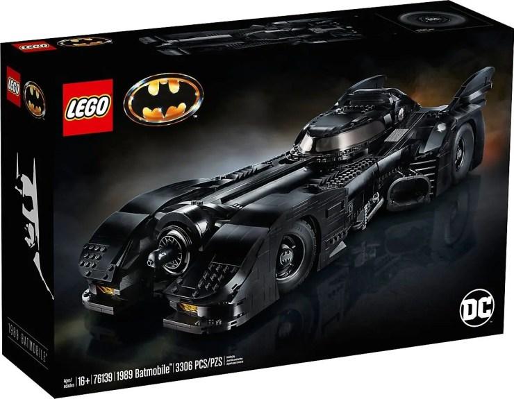 The Lego Batmobile box with DC logo.