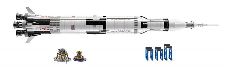 The LEGO Saturn V set, including the display frame, lander, and recovery vehicle.