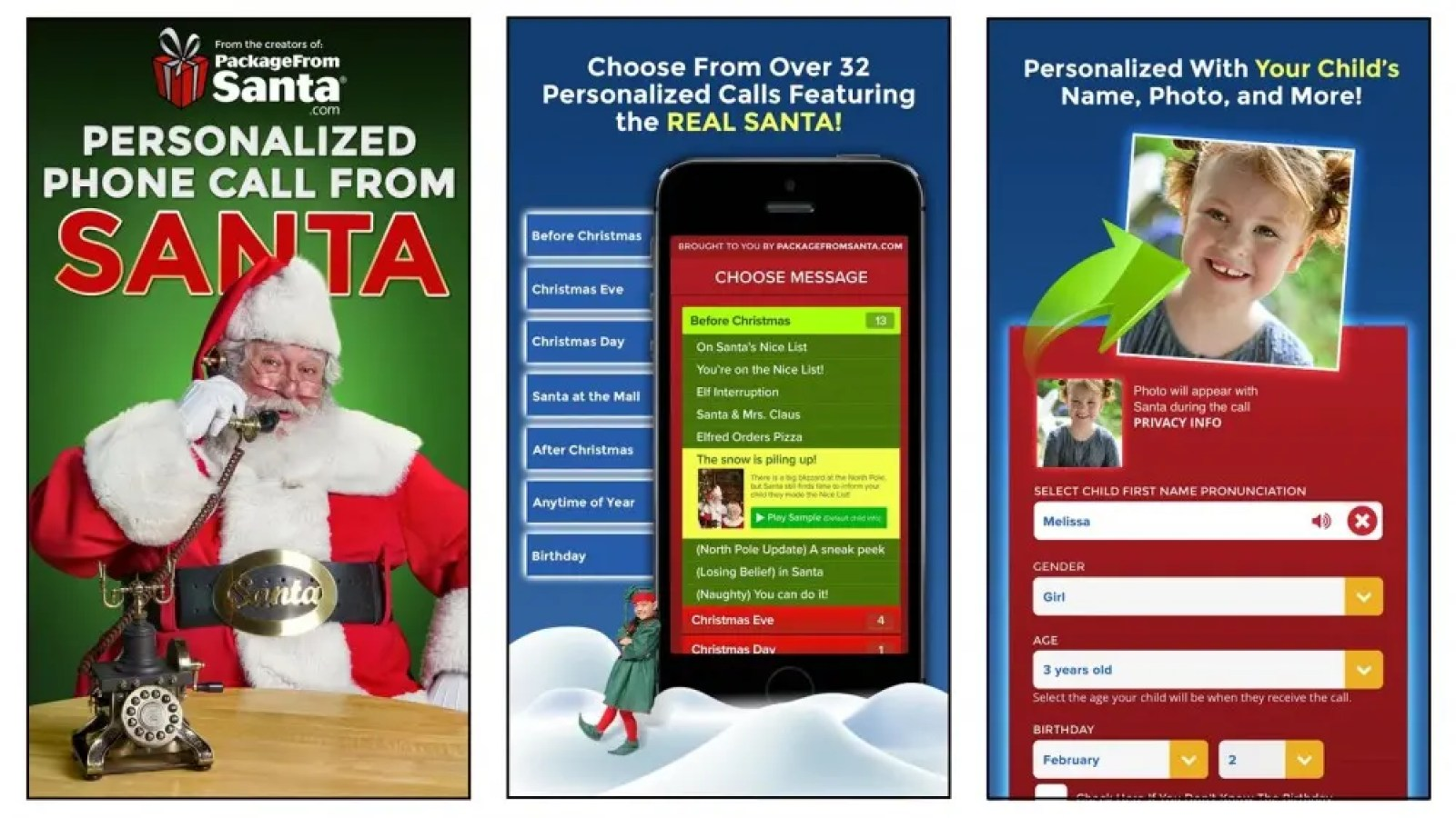 Package from Santa app with phone call personalization options for kids
