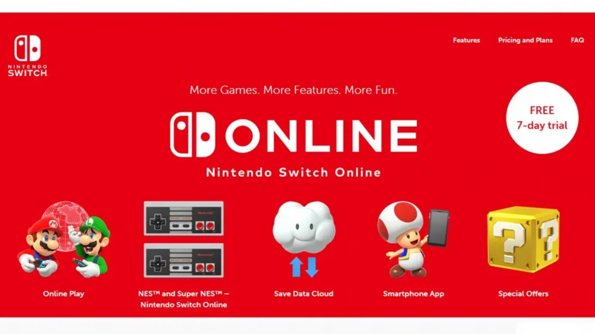 A screenshot from the Nintendo Switch online website
