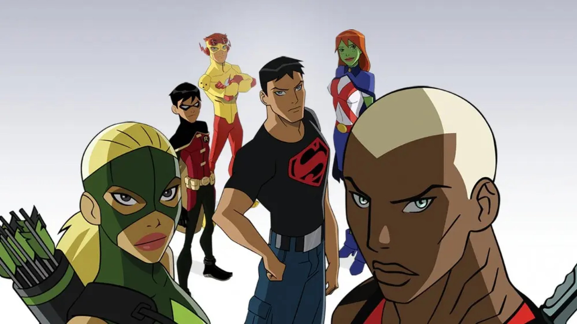 Kid Flash, Miss Martian, Robin, Superboy, Artemis, and Aqualad looking directly at the viewer.