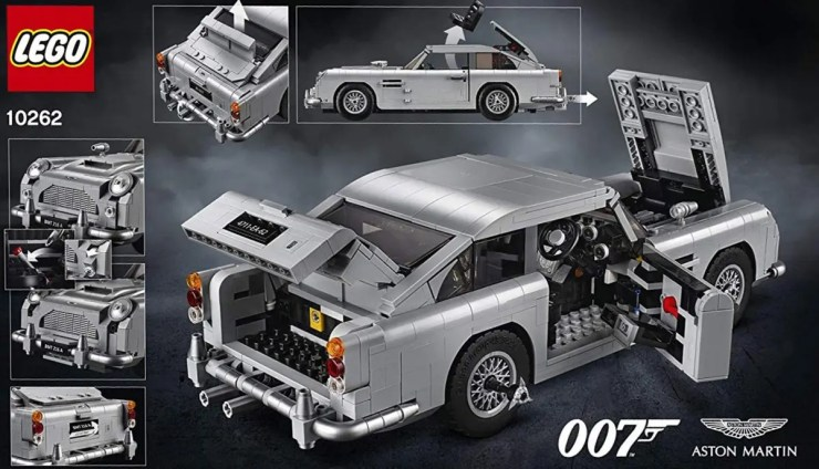 The rear of the LEGO Aston Martin DB5 retail packaging.
