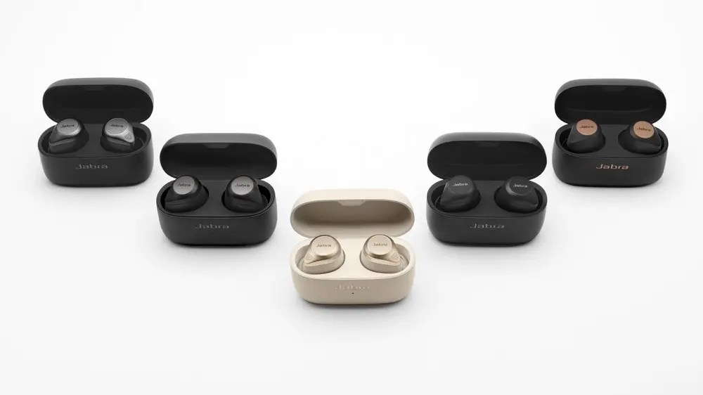 A photo of the Jabra Elite 85t wireless earbuds in Titanium, Gold, Copper, Black, and Gray.