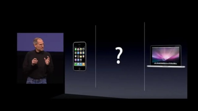 A screenshot of the launch event iPad 2010. Steve Jobs has three categories: a phone, a tablet and a laptop.