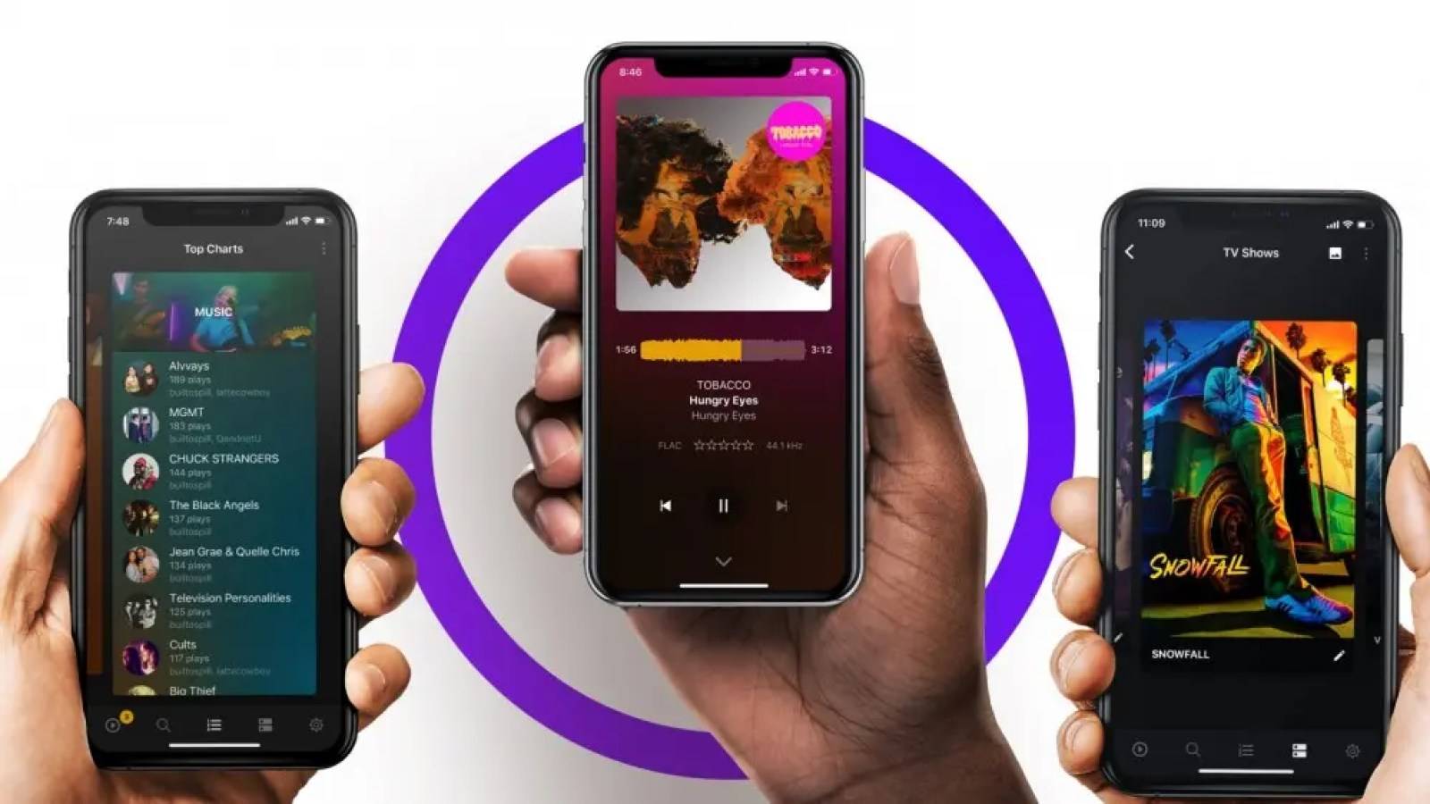 An illustration of Plex Pass streaming media to three smartphones.