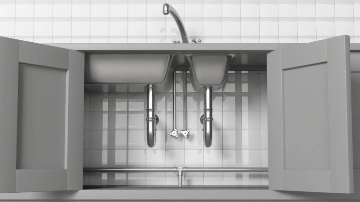 A photo of some unusually clean under-sink cabinets.