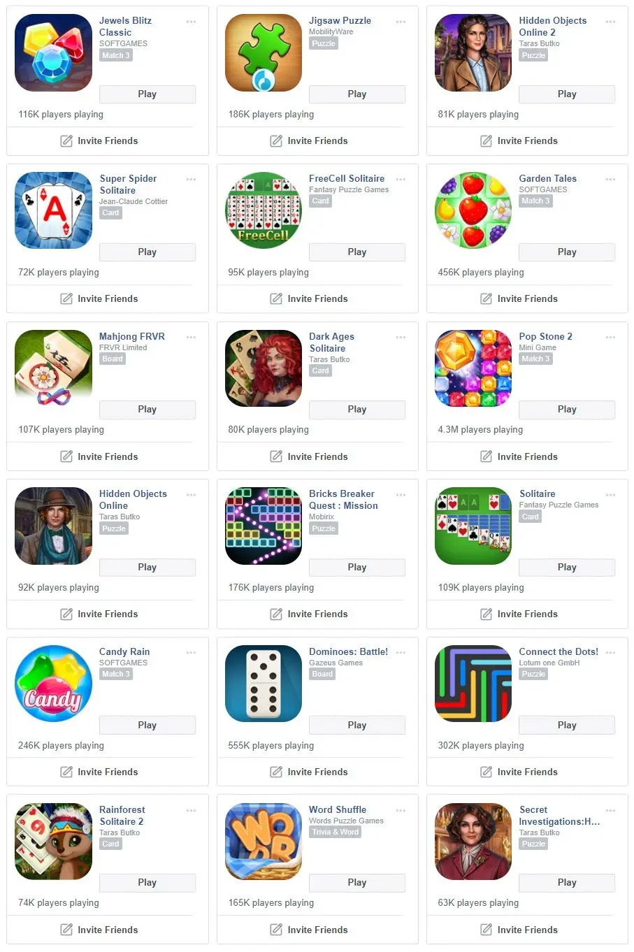 List of Instant Games on Facebook Gaming