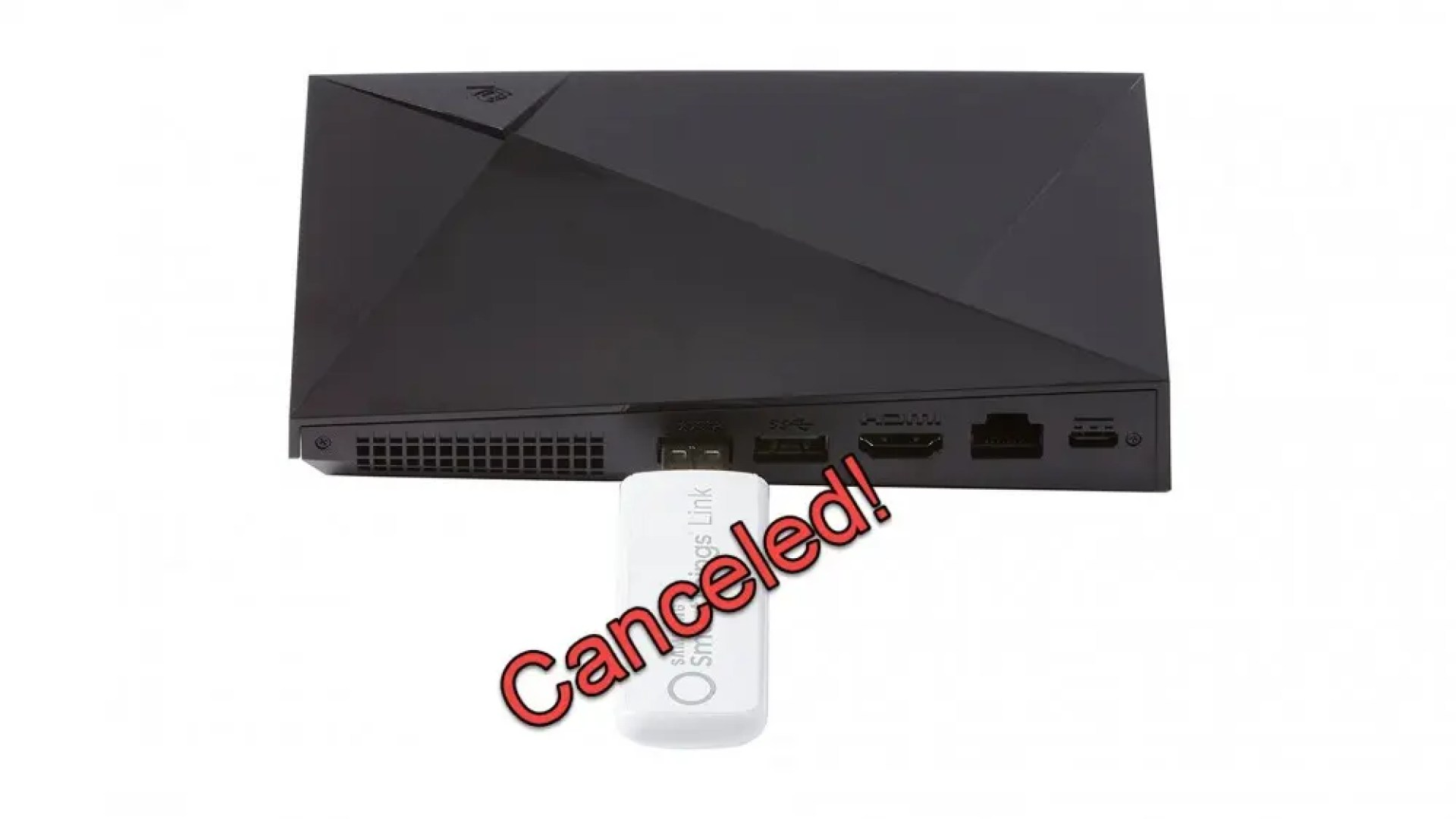 """A Samsung link hub with the word """"canceled' over it."""