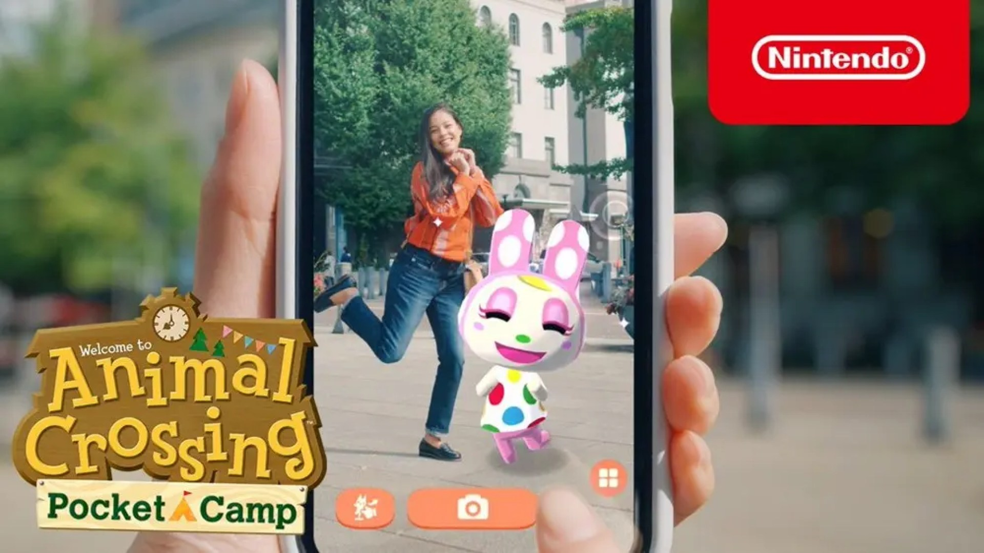 An Animal Crossing character enjoying the real world thanks to augmented reality.