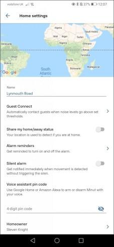 minut app settings menu screen