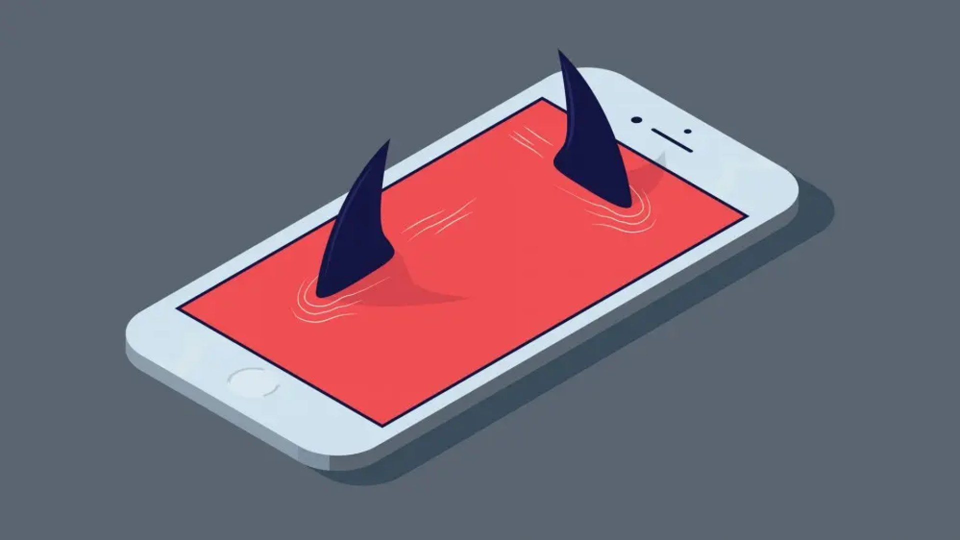 """An iPhone with a red screen and shark fins """"swimming around"""" in the screen."""