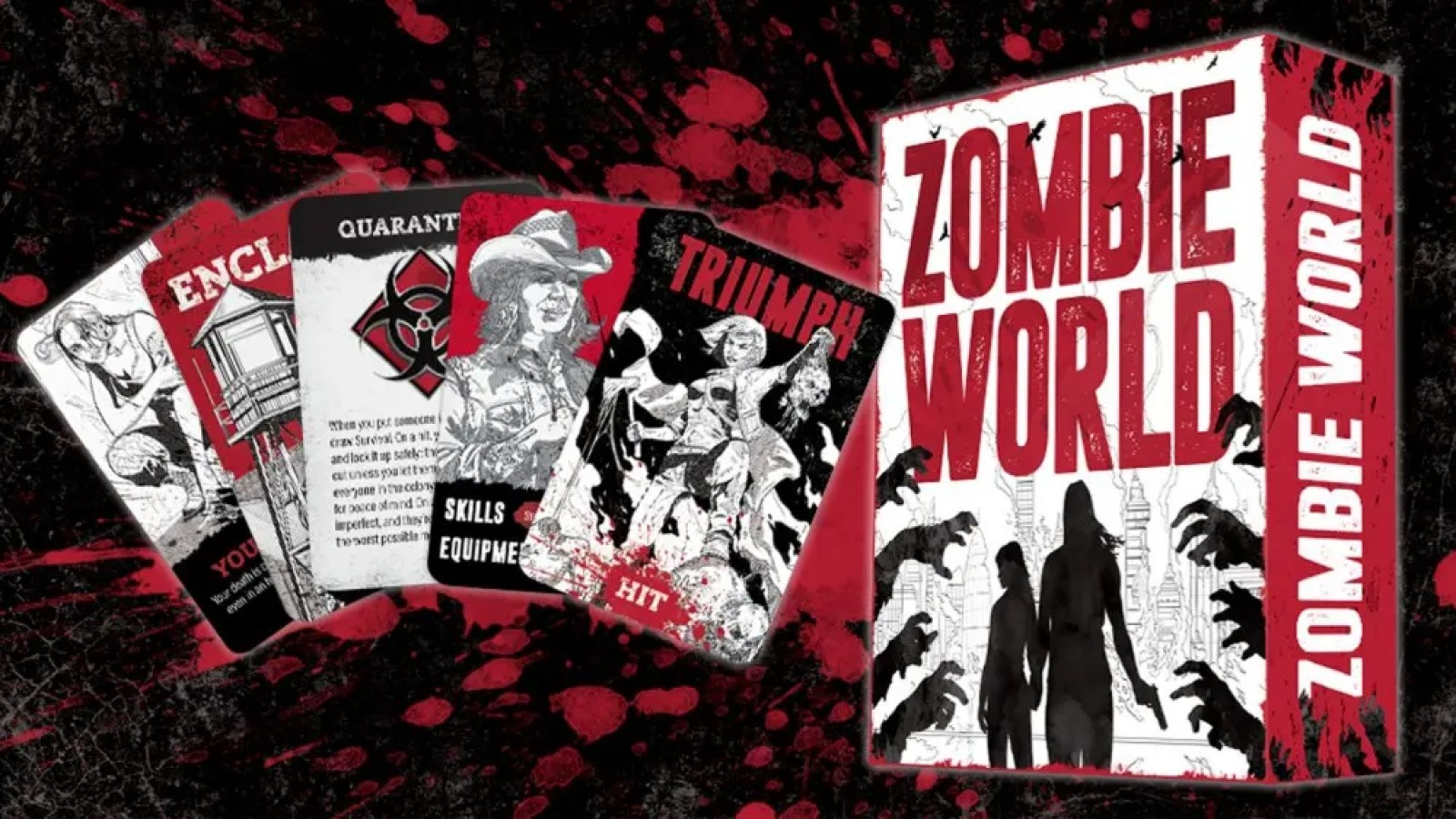 Zombie World game box and top-down view of some of the included cards