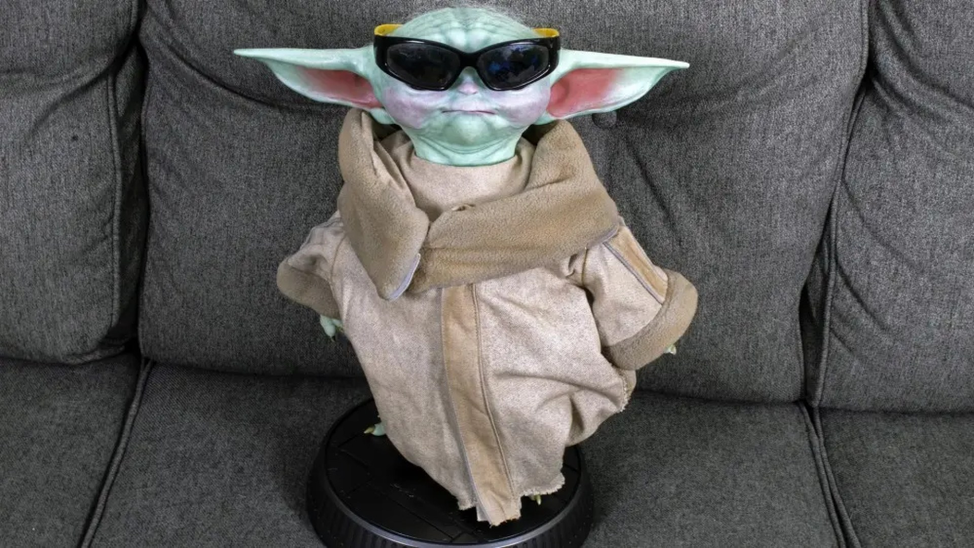 Baby Yoda wearing sunglasses