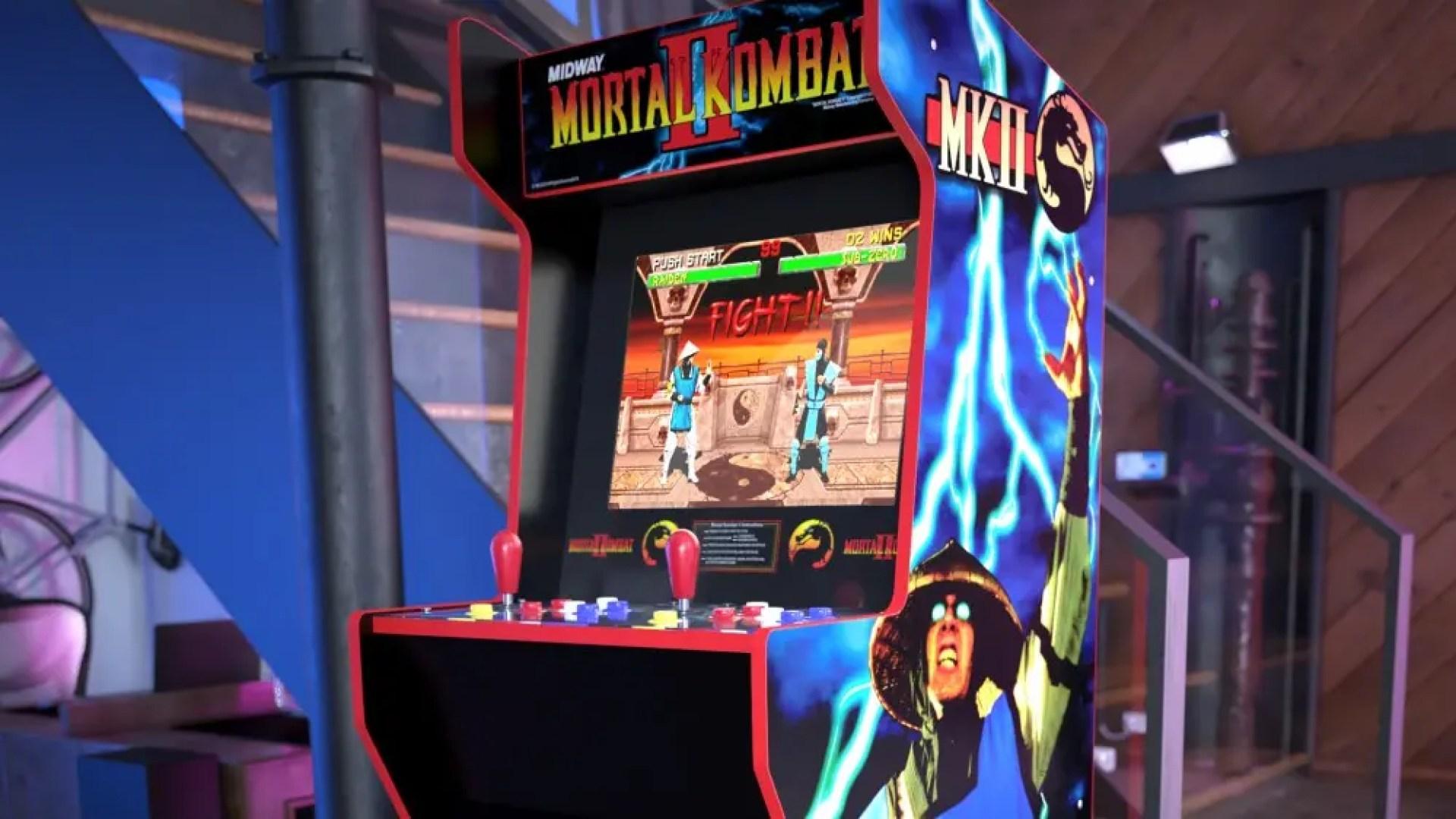 A closeup of a Mortal Kombat arcade machine