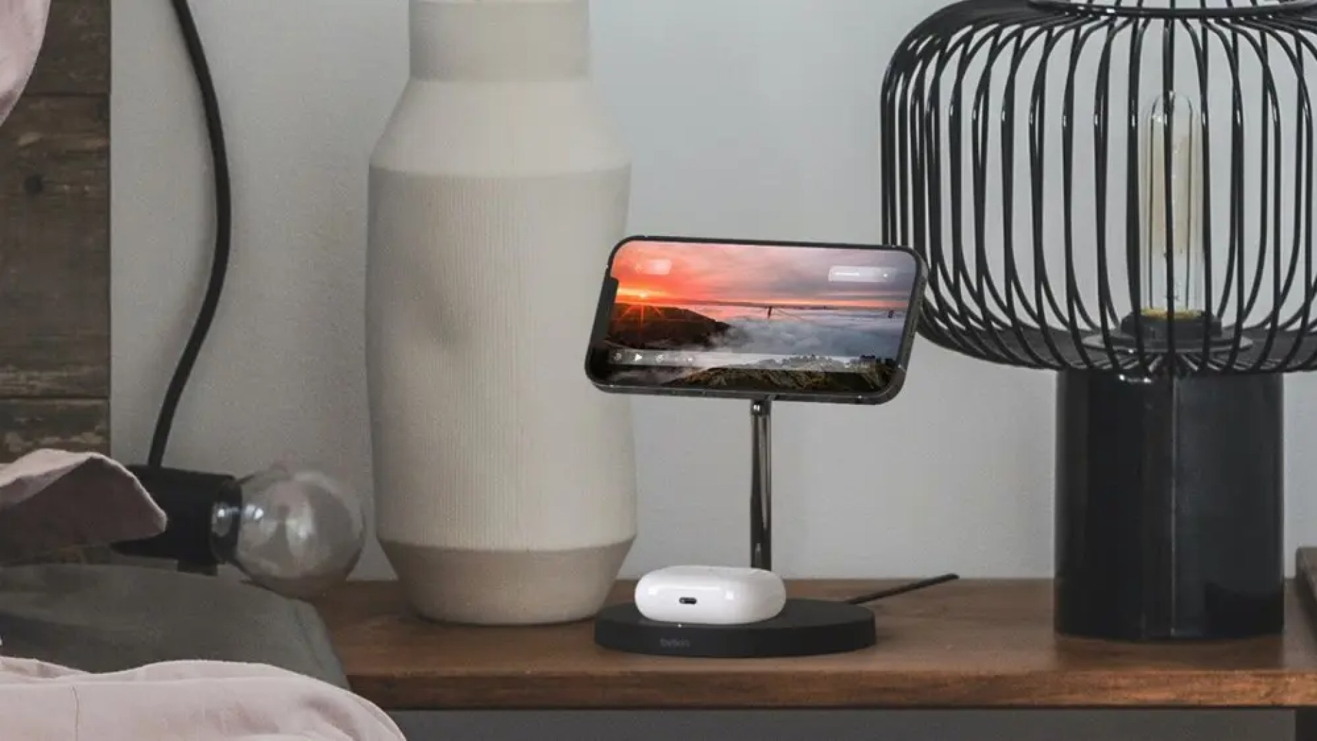 A photo of the BOOST CHARGE PRO MagSafe wireless charging stand.