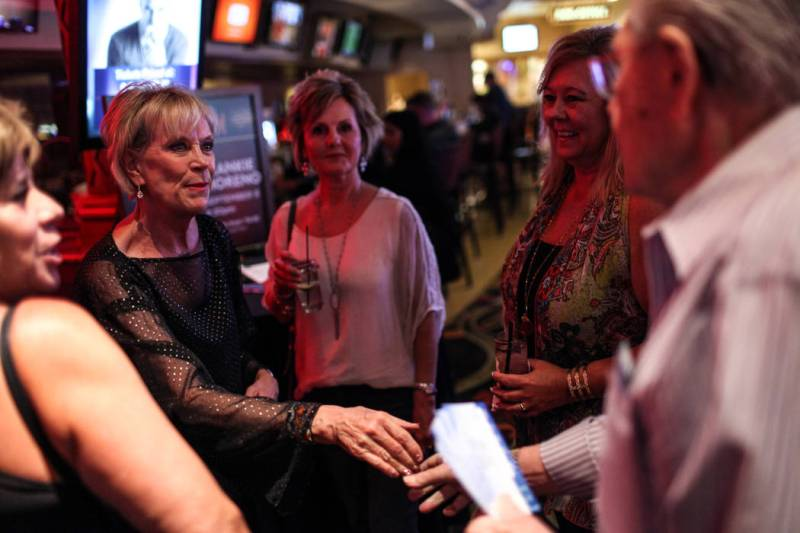 Kathy Cornelius of the Frankie Moreno Fan Club, left, meets with fans before a concert at the Suncoast Showroom in Las Vegas, Saturday, Sept. 9, 2017. Joel Angel Juarez Las Vegas Review-Journal @j ...