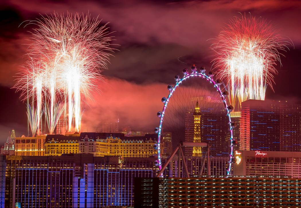 Las Vegas fireworks go off as midnight arrives     PHOTOS  VIDEO     Las     The fireworks of America s Party 2018 explode over the Las Vegas Strip to  welcome the new