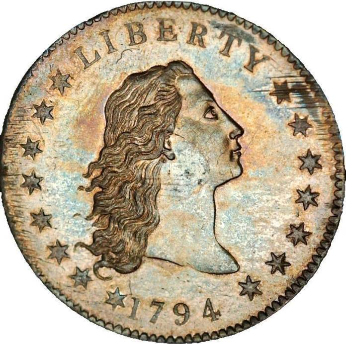 The 1794 Flowing Hair silver dollar is believed by many experts to be the first silver dollar s ...
