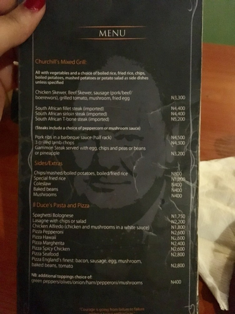 Churchill Bar Menu, Lekki Phase 1