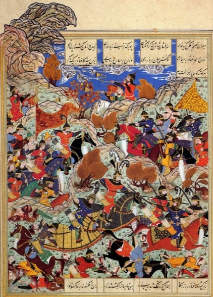 This image depicts the emperor Tamerlane defeating the Mamluk sultan of Egypt. While his conquests were far-ranging, they lasted no longer than a century.