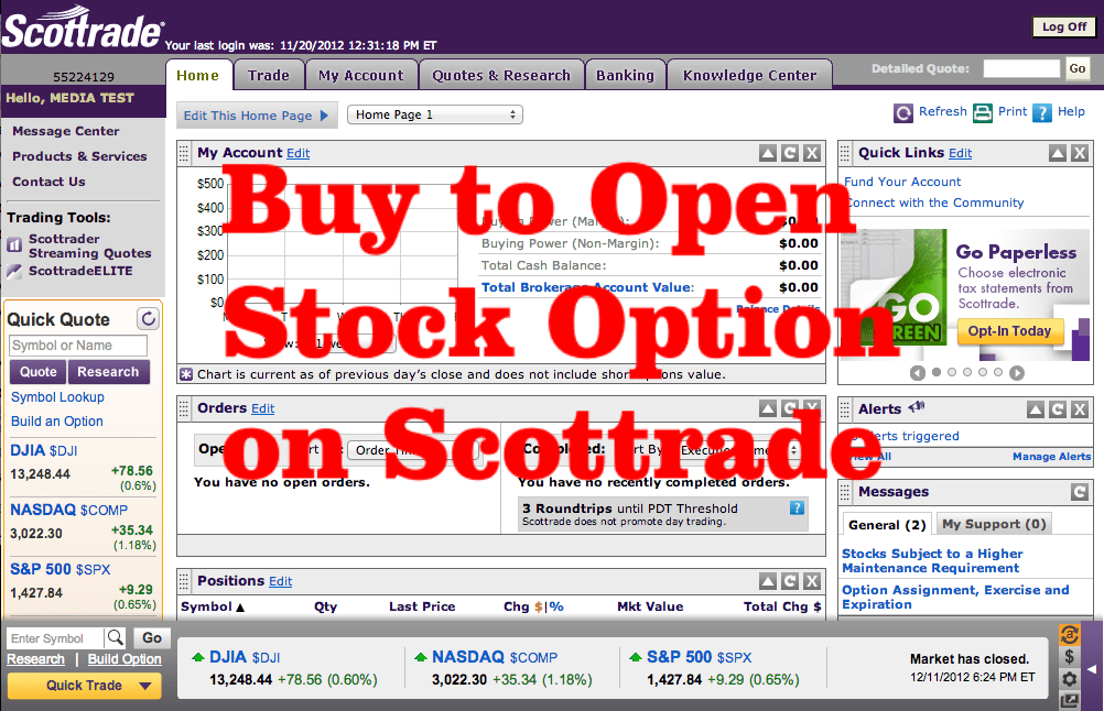 How to 'Buy to Open' Call Option on Scottrade – Stock Tricks