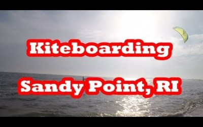 Kiteboarding at Sandy Point Island in Westerly, Rhode Island