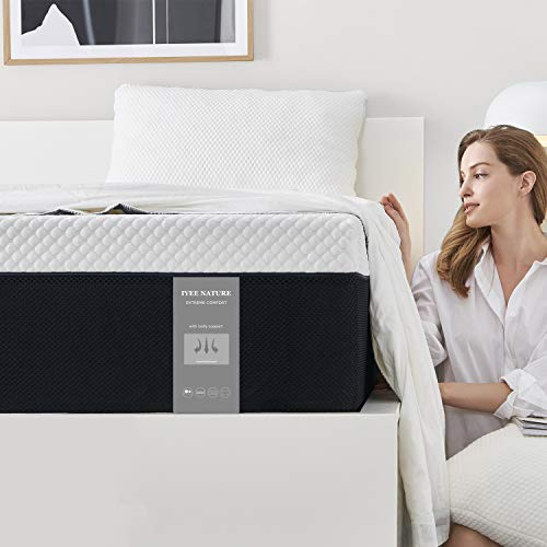 Full Size Mattress, 8 Inch Iyee Nature Cooling-Gel Memory Foam Mattress Bed in a Box, Supportive & Pressure Relief with Breathable Soft Fabric Cover, Medium Firm Feel,Ventilated