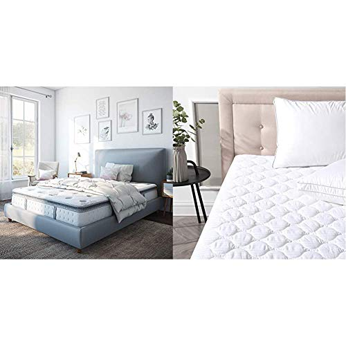 Classic Brands Mercer Pillow Top Cool Gel Memory Foam and Innerspring Hybrid 12-Inch Mattress, Twin, White & Defend-A-Bed Deluxe Quilted Waterproof Mattress Protector, Twin