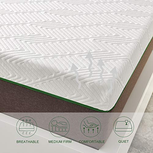 Full Size Mattress, 8 Inch Iyee Nature Cooling-Gel Memory Foam Mattress Bed in a Box, Supportive & Pressure Relief with Breathable Soft Fabric Cover, Medium Firm Feel