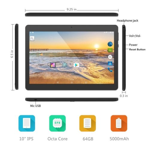 YELLYOUTH 10-inch Android Tablet with Dual Sim Card Slots, 10.1-inch IPS MTK Octa-Core 4GB RAM 64GB ROM WiFi Bluetooth GPS 3G Unlocked Phone Tablet PC (Black)