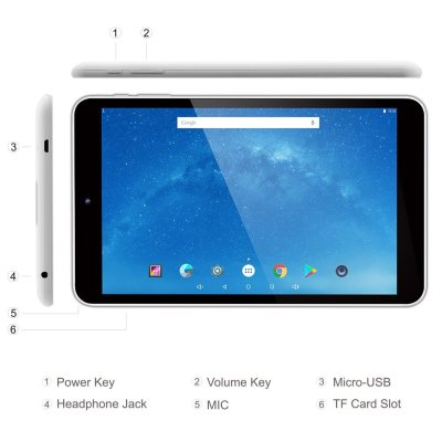 Dragon Touch 8 Inch Android Tablet, Intel 64 bits Quad Core, 1GB RAM 16GB Flash, IPS Display 1280x800, Google Android 5.1 Lollipop, Bluetooth 4.0, FM, 10 Point Multi-Touch, Dual Camera