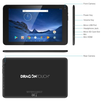 2018 Dragon Touch V10 10 Inch Android Tablet, Google Android 7.0 Nougat, MTK Quad-Core