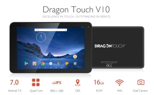 2018 Dragon Touch V10 10 Inch Android Tablet, Google Android 7.0 Nougat