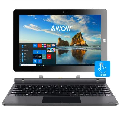 10.1-inch Touch Screen Windows 10 Home 2in1 Laptop Tablet PC Intel X5-Z8350 Quad-Core 1.44GHz, IPS HD 1280x800, 4GB RAM 32GB Storage, Dual Webcam, WiFi Bluetooth 4.0, Micro HDMI, Micro SD, USB, with Keyboard, Iron Gray