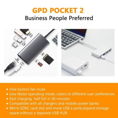2018 GPD Pocket 2 Aluminum Shell 7 Inches Touchscreen Mini Laptop UMPC Tablet