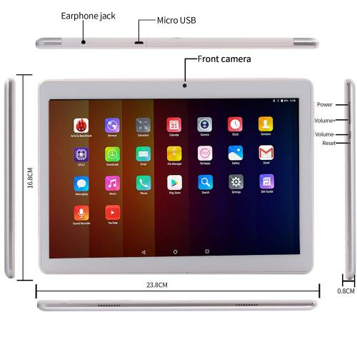 KuBi Fire 10-inch 4G Phablet Phone Tablet PC Android 8.0 Oreo, Deca-Core Tablet