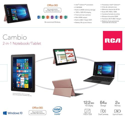 RCA Cambio 12.2 Inch 2-in-1 Laptop Tablet with Keyboard