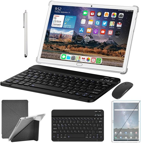 2021 MEIZE 2-in-1 Phone Tablet, 10.1 Inch Tablet with Keyboard Mouse