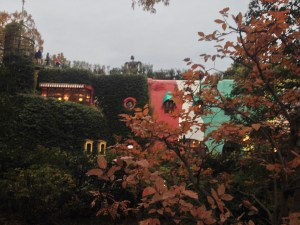 The Ghibli Museum with the Laputa Robot peeking from the rooftop