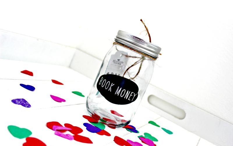 Blossom Books Glass Jar Book Money